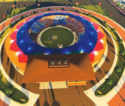 नेकपा अध्यक्ष प्रचण्डद्वारा निर्माणाधीन क्रिकेट रङ्गशालाको अवलोकन