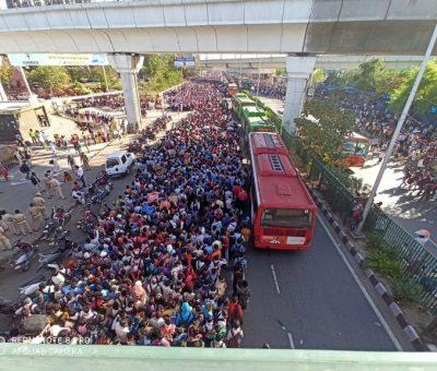 लकडाउनको अवज्ञा: दिल्लीको बस पार्कहरुमा हजारौंको भीड